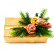 Christmas concept with decoration and giftbox — Stock Photo
