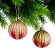 Christmas concept with baubles on white — 图库照片