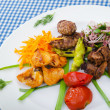Plate with tasty lamp kebabs - 图库照片