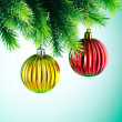 Baubles on christmas tree in celebration concept — Zdjęcie stockowe