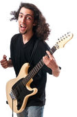 Guitar player isolated on the white background — Stock Photo