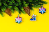 Fir tree and christmas decoration — Stock Photo