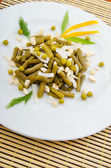 Green bean salad in the plate — Stock Photo
