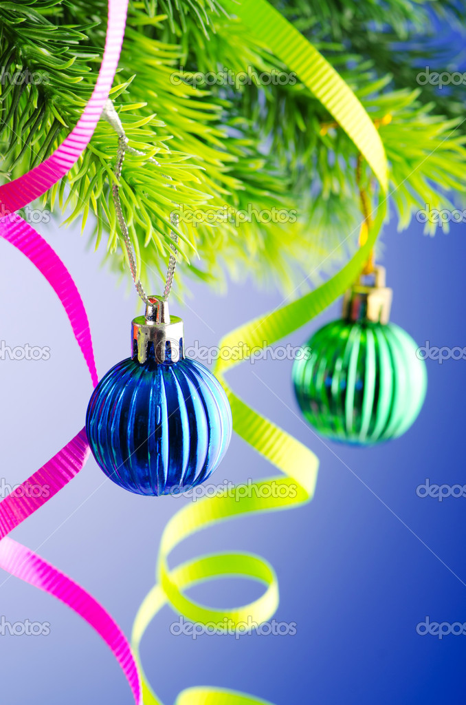 Baubles on christmas tree in celebration concept — Stock Photo #7131273