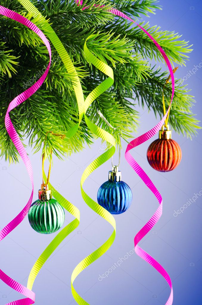 Baubles on christmas tree in celebration concept — Stock Photo #7131302