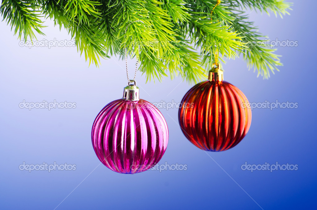Baubles on christmas tree in celebration concept  Stock Photo #7135745