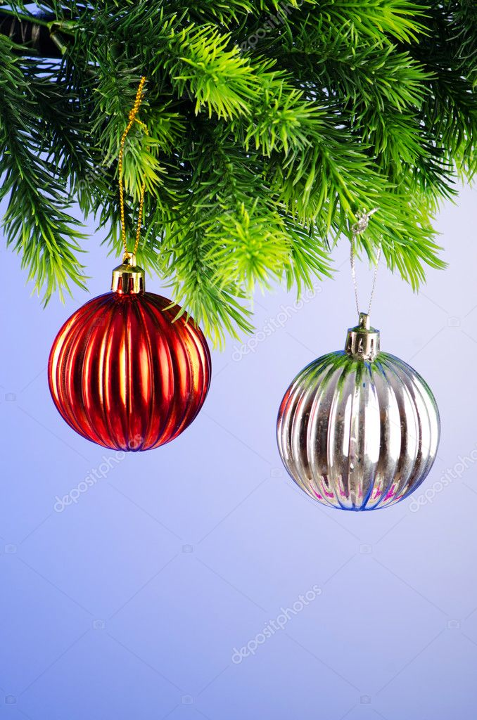 Baubles on christmas tree in celebration concept — Stock Photo #7135758