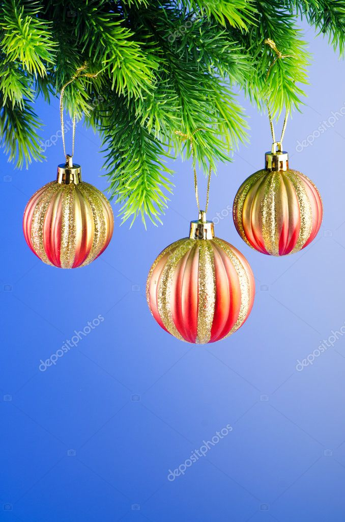 Baubles on christmas tree in celebration concept — Stock Photo #7135813