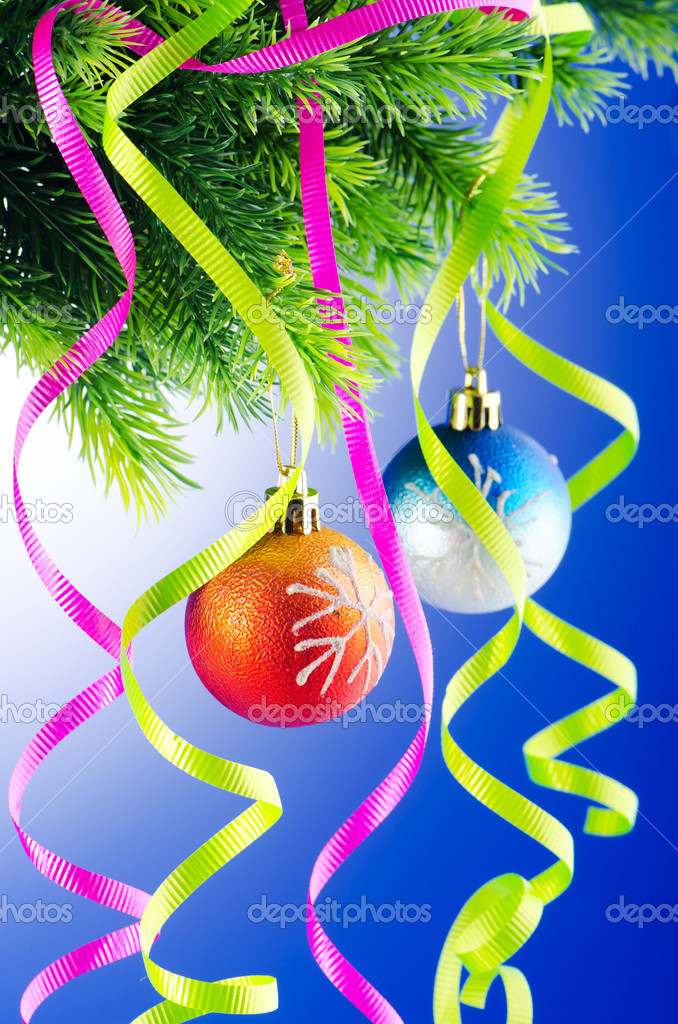 Baubles on christmas tree in celebration concept — Stock Photo #7135865