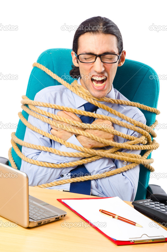 Young businessman tied with rope — Stock Photo #7136582