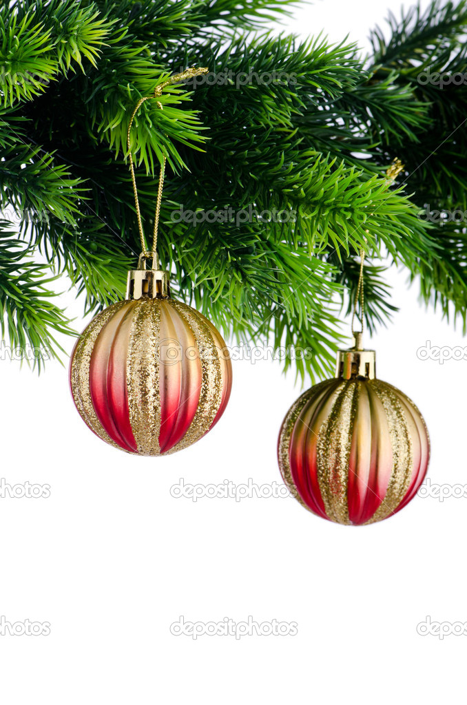 Christmas concept with baubles on white — Stock Photo #7137404
