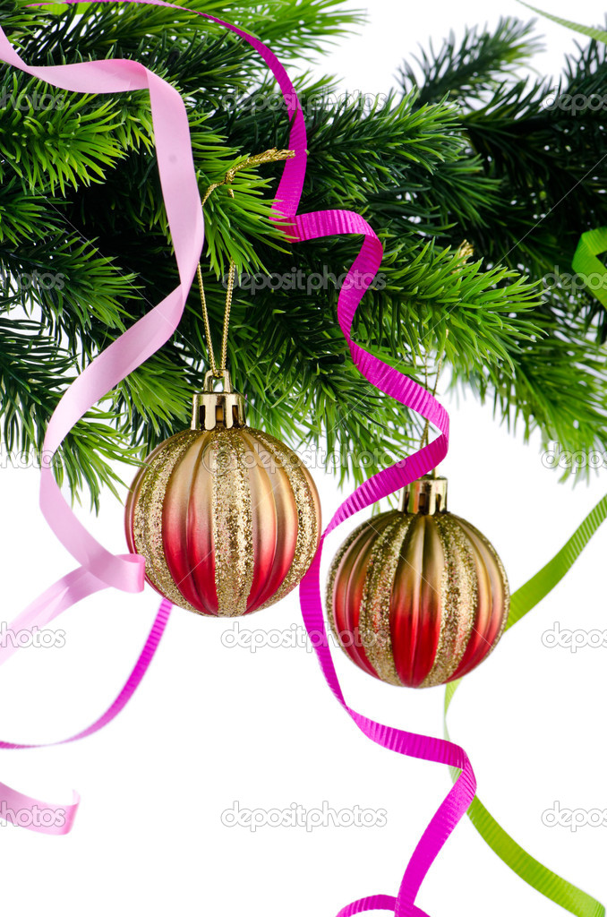 Christmas concept with baubles on white — Stock Photo #7137427