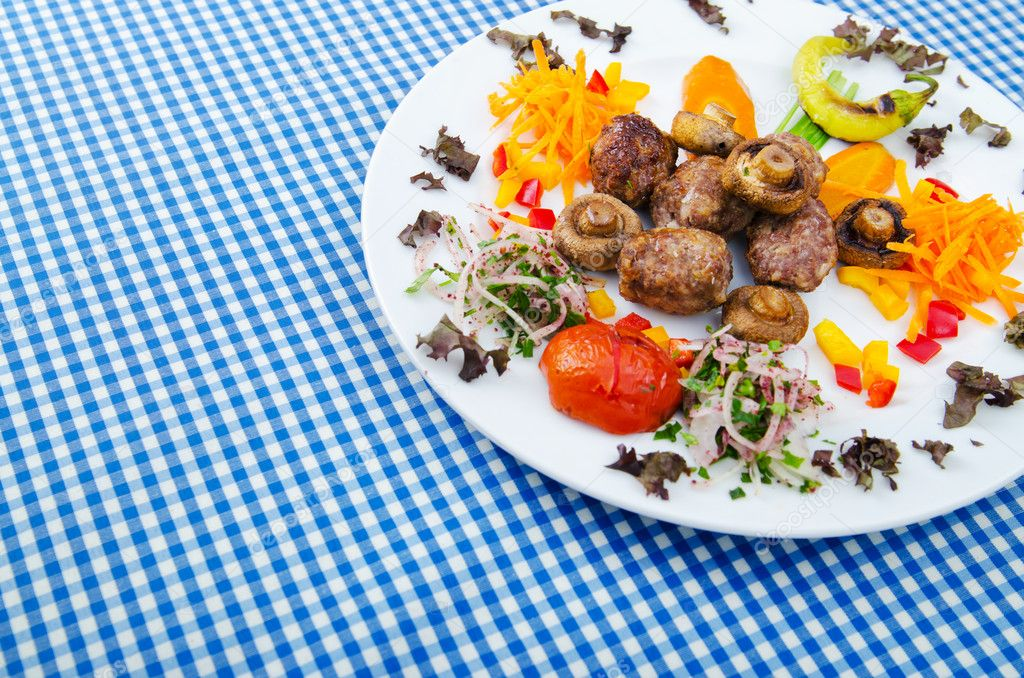 Kebab served in the plate — Stock Photo #7137878