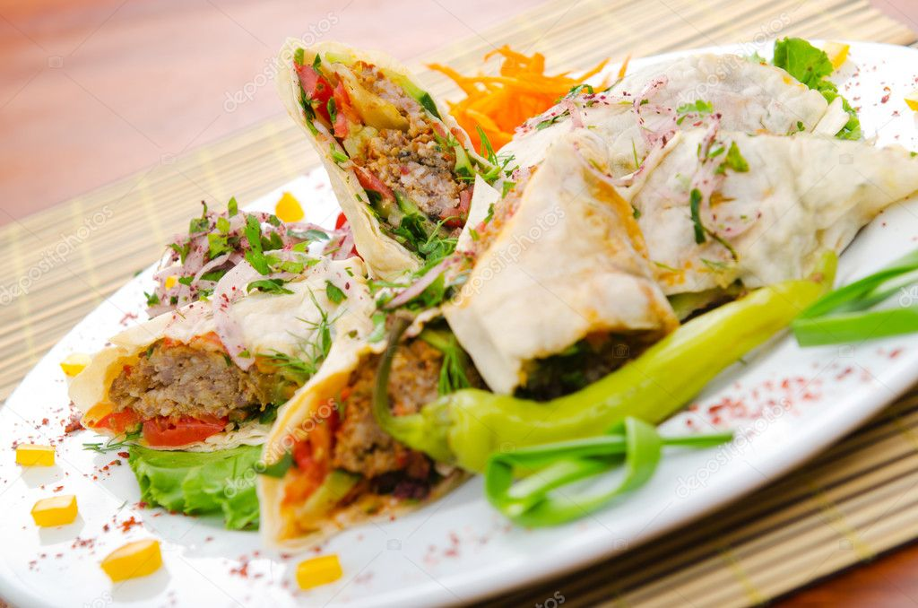 Kebab served in the plate — Stock Photo #7137908
