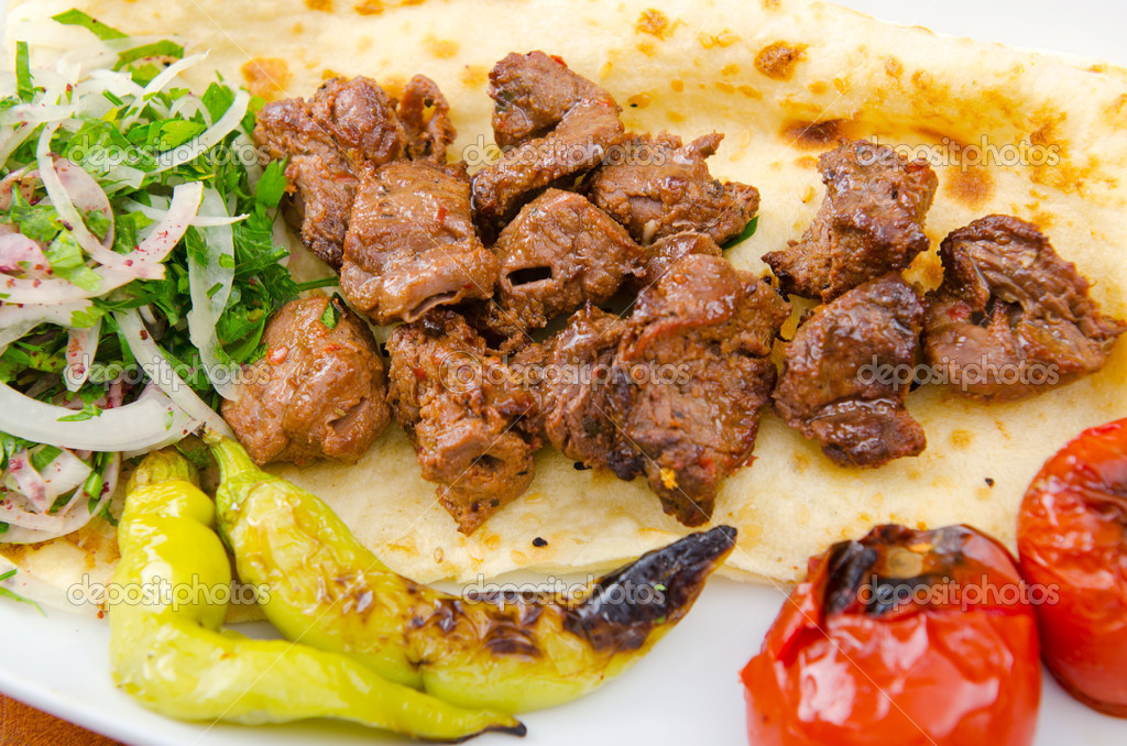 Kebab served in the plate — Stock Photo #7137943