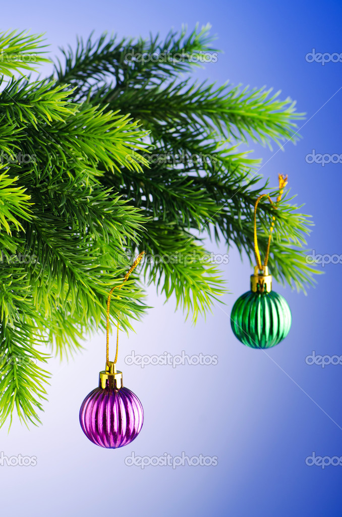Baubles on christmas tree in celebration concept — Stock Photo #7138446