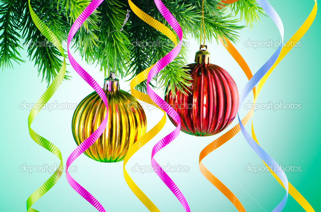 Baubles on christmas tree in celebration concept — Stock Photo #7138595