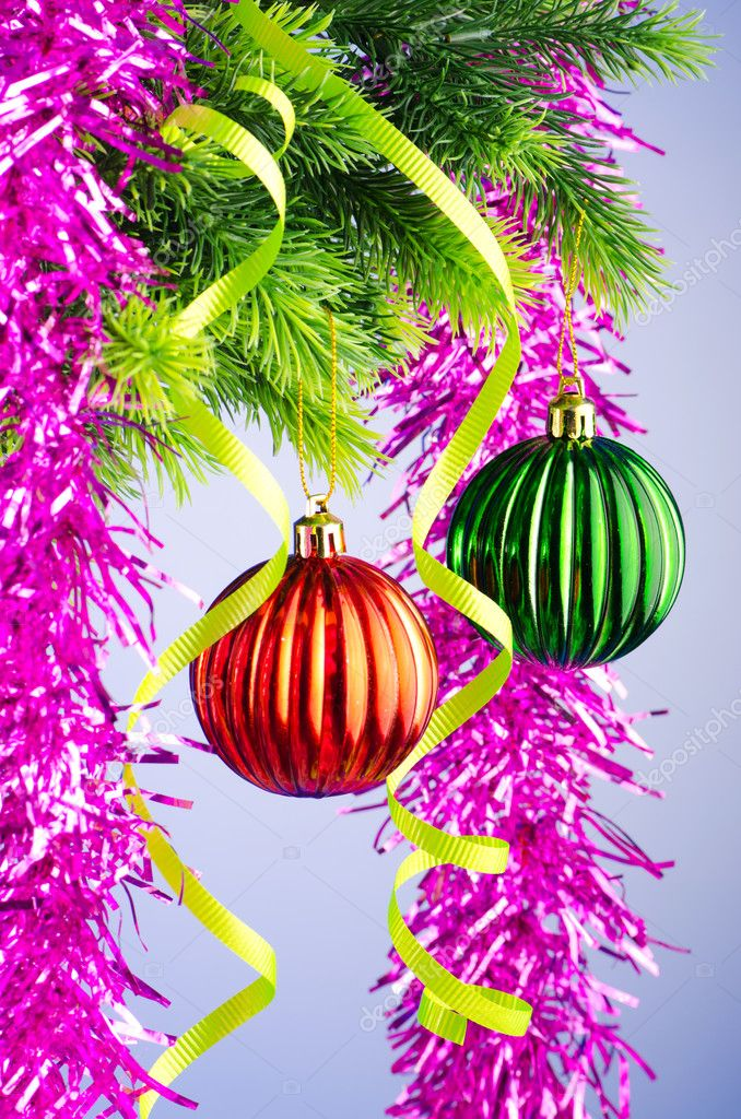 Baubles on christmas tree in celebration concept — Stock Photo #7138758