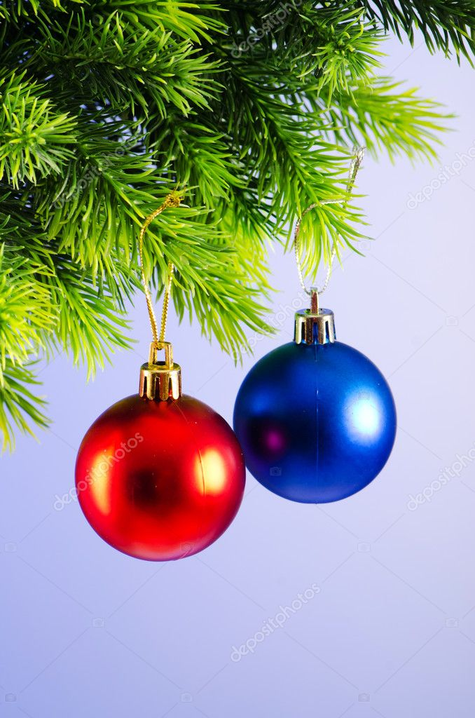 Baubles on christmas tree in celebration concept — Stock Photo #7138795