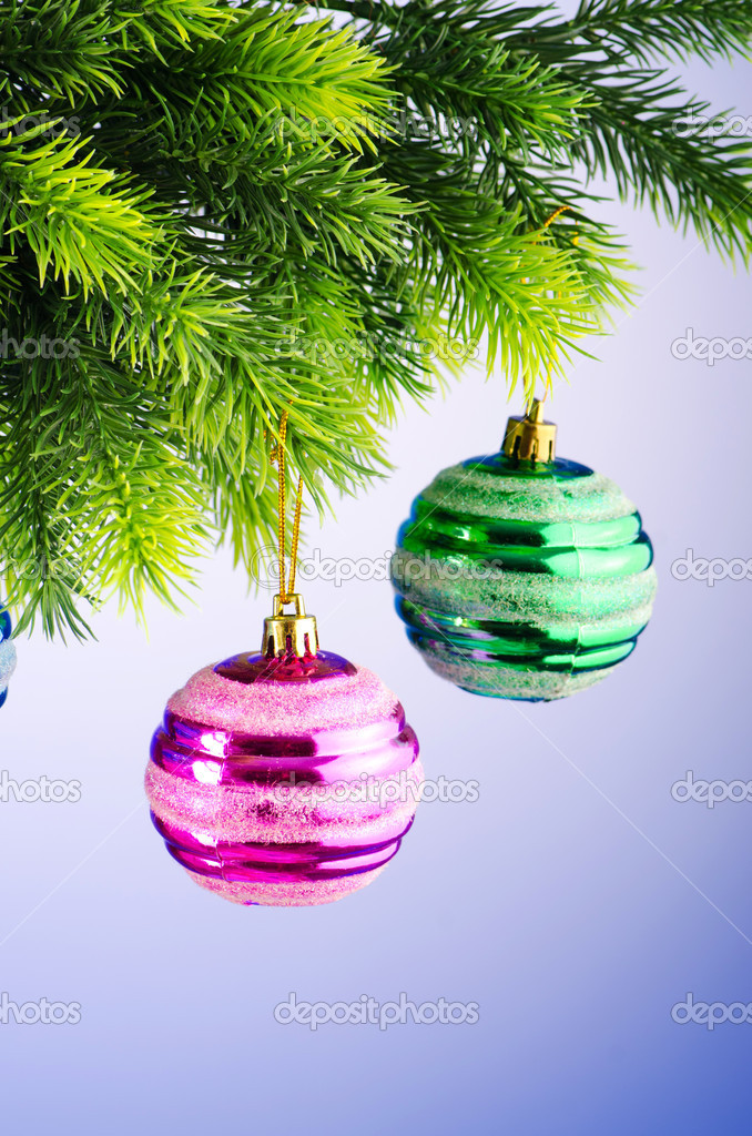 Baubles on christmas tree in celebration concept — Stock Photo #7138930