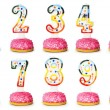 Stock Photo: Birthday candles isolated on the white