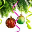 Christmas concept with baubles on white - 