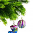 Christmas concept with baubles on white - Stok fotoraf
