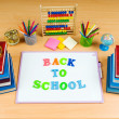 Back to school concept with many items — Stock Photo