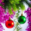 Royalty-Free Stock Photo: Baubles on christmas tree in celebration concept