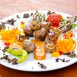 Kebab served in the plate — Stock Photo
