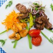 Plate with tasty lamp kebabs - Stockfoto
