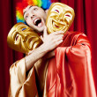 Actor with maks in funny theater concept — Stock Photo #7309351