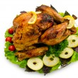 Turkey roasted and served in the plate — Foto de Stock