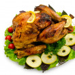 Turkey roasted and served in the plate — Stock Photo