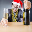 Drunken businessman after office christmas party — Stock Photo #7312395