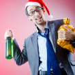 Drunken businessman after office christmas party — Photo