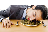 Businessman with golden coins — Foto Stock