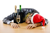 Drunken businessman after office christmas party — 图库照片