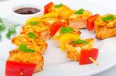 Chicken kebab on skewers — Stock Photo
