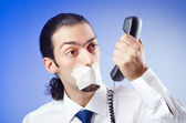 Businessman with his lips sealed — Stock Photo