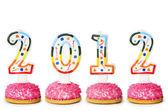 2012 с торт свечи — Стоковое фото