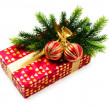 Christmas concept with decoration and giftbox - Zdjęcie stockowe