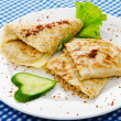 Pancakes stuffed with minced meat — Stock Photo
