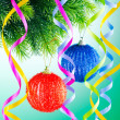 Baubles on christmas tree in celebration concept - Zdjęcie stockowe