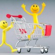 Shopping cart and happy smilies - Stock Photo