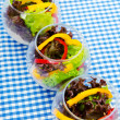Fresh healthy salad in bowls — Stock Photo