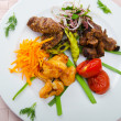 Plate with tasty lamp kebabs — Stock fotografie #7376212