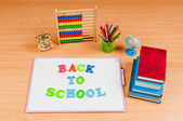 School items on the desk — Stock Photo