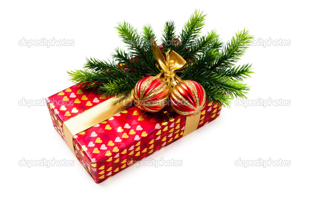 Christmas concept with decoration and giftbox — Stock Photo #7371761