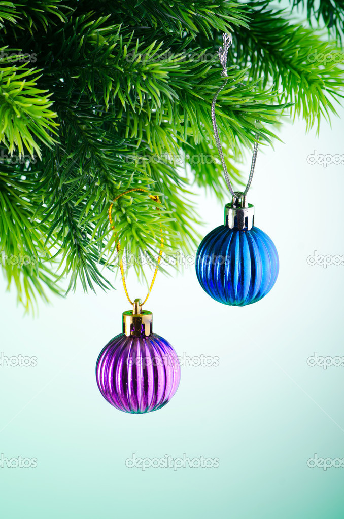 Baubles on christmas tree in celebration concept — Stock Photo #7373952